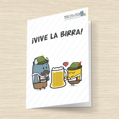 Tarjeta Vive La birra- Monster and Pixer