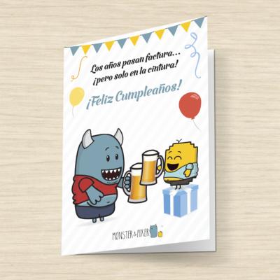 Tarjeta Feliz Cumpleaños- Monster and Pixer