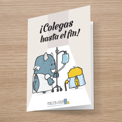 Tarjeta Colegas hasta el fin - Monster and Pixer