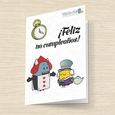 Tarjeta Feliz No Cumpleaños- Monster and Pixer