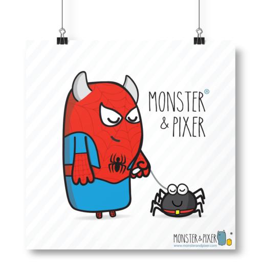 Lámina Spiderman y mascota - Monster & Pixer