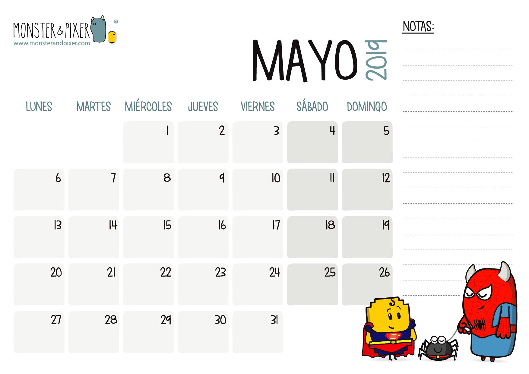 Calendario Mayo2019.Descargable Gratuito Calendario Mayo 2019 Monster Pixer