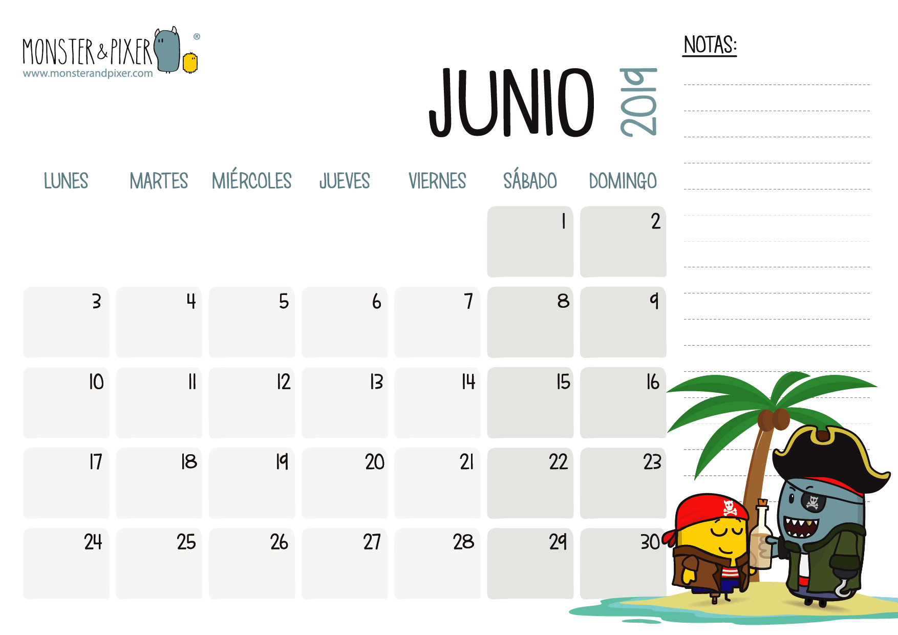 Junio 2019 Calendario.Descargable Gratuito Calendario Junio 2019 Monster Pixer